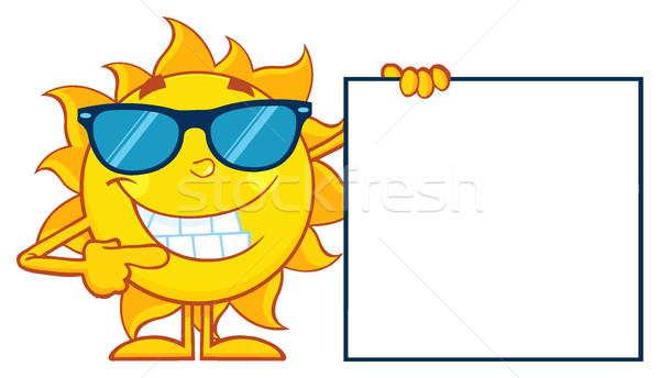 Falante sol mascote óculos de sol indicação Foto stock © hittoon