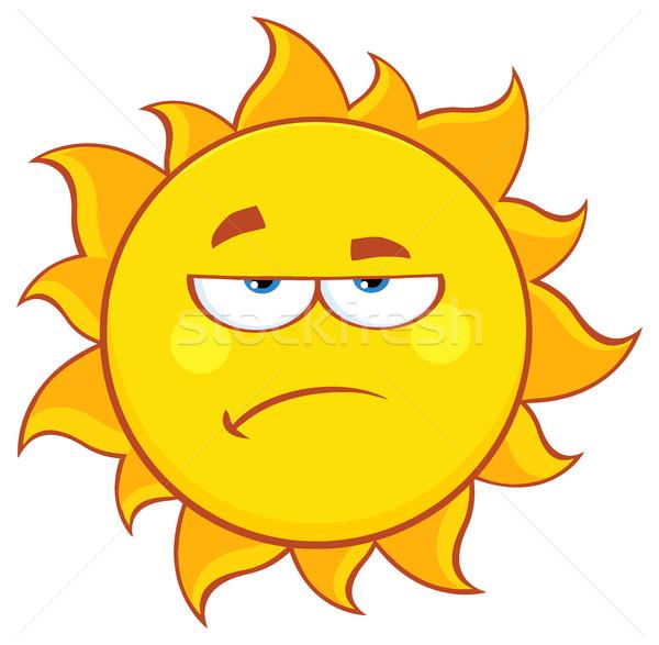 Knorrig zon cartoon mascotte karakter illustratie geïsoleerd Stockfoto © hittoon