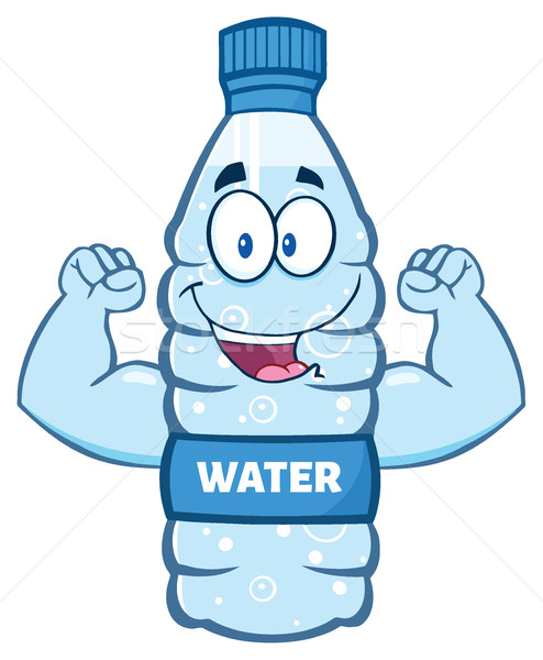 Cartoon Illustation Of A Water Plastic Bottle Cartoon Character Flexing His Muscles Stock photo © hittoon