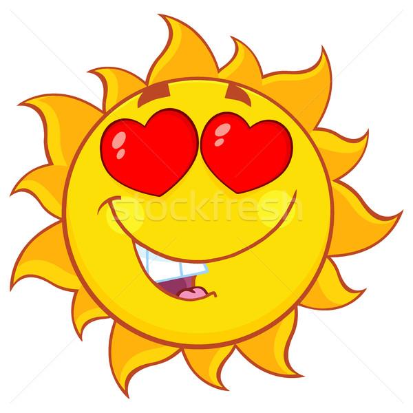 Sevmek güneş karikatür maskot karakter örnek yalıtılmış Stok fotoğraf © hittoon