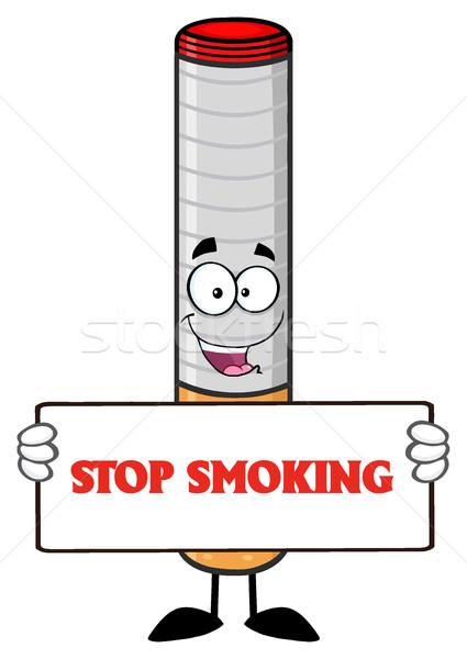 électronique cigarette mascotte dessinée personnage signe Photo stock © hittoon