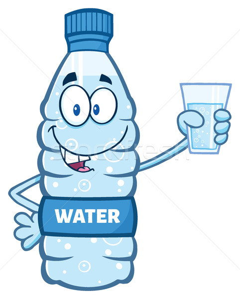 Cartoon Illustation Of A Water Plastic Bottle Mascot Character Holding A Water Glass Stock photo © hittoon