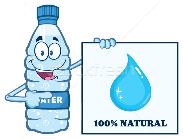 Cartoon Illustation Of A Water Plastic Bottle Mascot Character Holding And Pointing To A Banner With Stock photo © hittoon