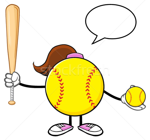 Softball Girl Faceless Cartoon Mascot Character Holding A Bat And Ball With Speech Bubble Stock photo © hittoon