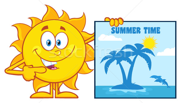 Talking Sun Cartoon Mascot Character Pointing To A Poster Sign With Tropical Island And Text Summer  Stock photo © hittoon
