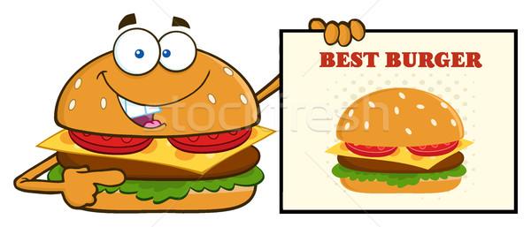 Сток-фото: улыбаясь · Burger · мультфильм · талисман · характер · указывая · знак