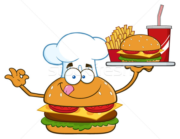 Chef burger mascote Foto stock © hittoon