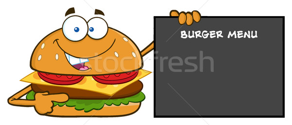 Funny Burger Cartoon Mascot Character Pointing To A Sign With Text Burger Menu Stock photo © hittoon