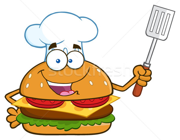 Chef Burger Cartoon Mascot Character Holding A Slotted Spatula Stock photo © hittoon