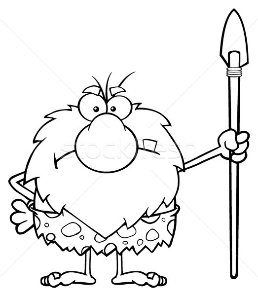 Black And White Angry Male Caveman Cartoon Mascot Character Standing With A Spear Stock photo © hittoon