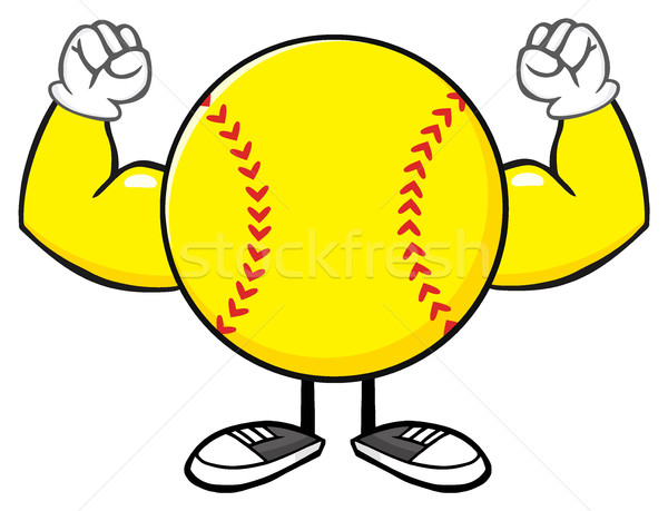 Softball Faceless Cartoon Mascot Character Flexing Stock photo © hittoon