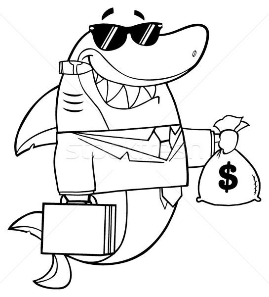 黒白 笑みを浮かべて ビジネス サメ 漫画のマスコット 文字 ストックフォト © hittoon