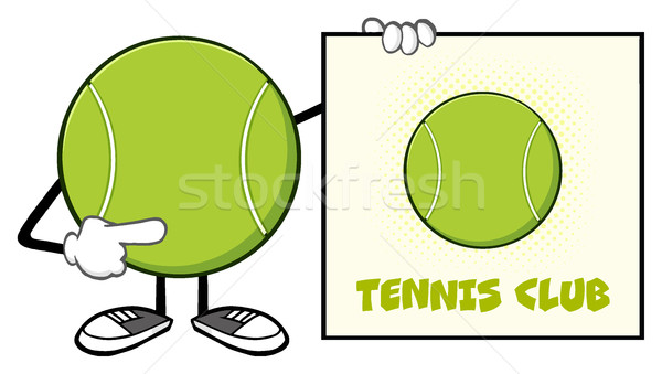 Tennis Ball Faceless Cartoon Mascot Character Pointing To A Sign Tennis Club Stock photo © hittoon