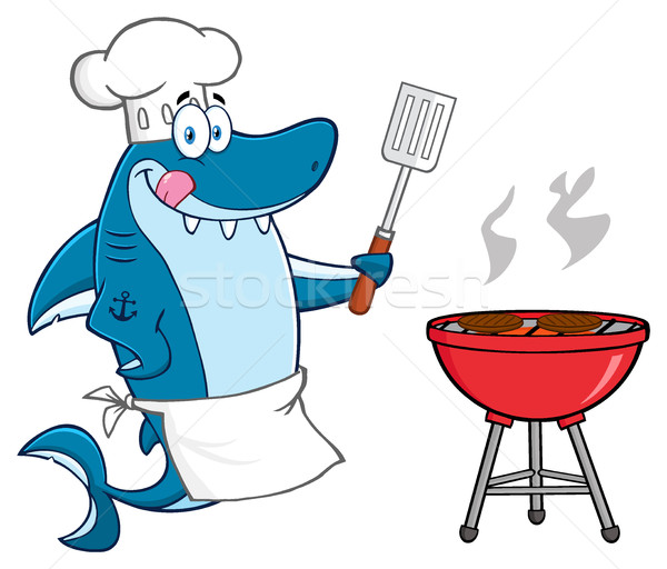 Chef Blue Shark Cartoon Mascot Character Licking His Lips And Holding A Spatula By A Barbeque With R Stock photo © hittoon