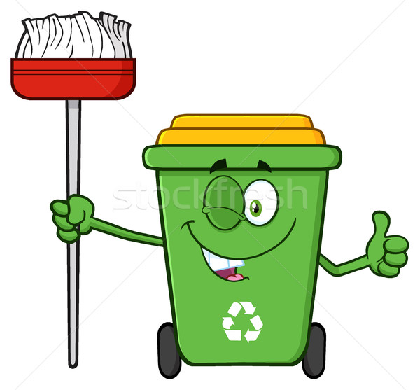 Groene recycleren cartoon mascotte karakter Stockfoto © hittoon