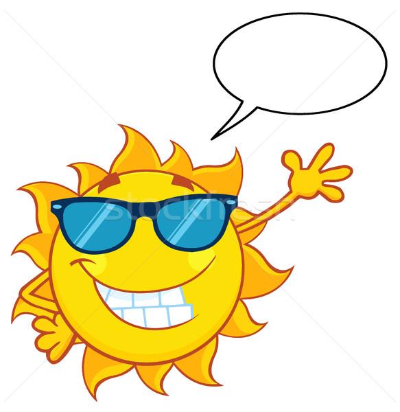 Sorridente sol mascote óculos de sol Foto stock © hittoon