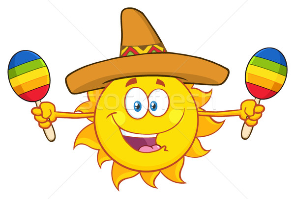 Happy Colorful Sun Cartoon Mascot Character With Sombrero Hat Playing Maracas Stock photo © hittoon