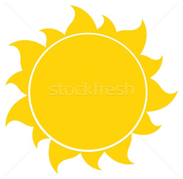 Foto stock: Amarelo · silhueta · sol · ilustração · isolado · branco