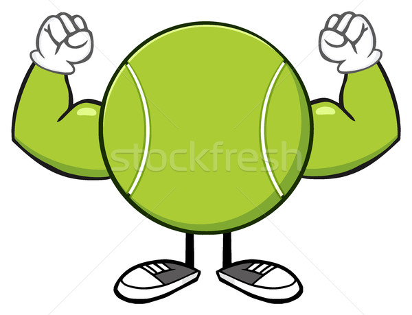Tennis Ball Faceless Cartoon Mascot Character Flexing Stock photo © hittoon