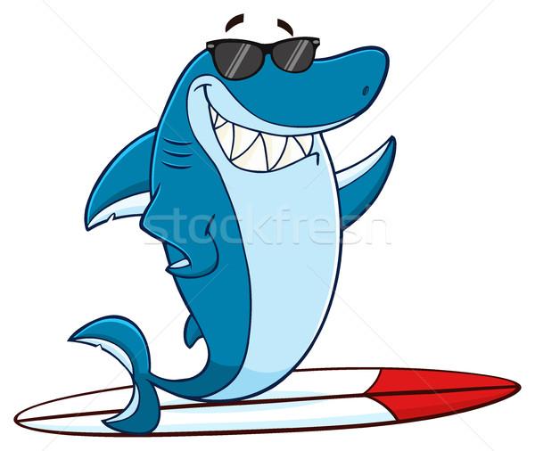 Mosolyog kék cápa rajzfilm kabala karakter napszemüveg Stock fotó © hittoon