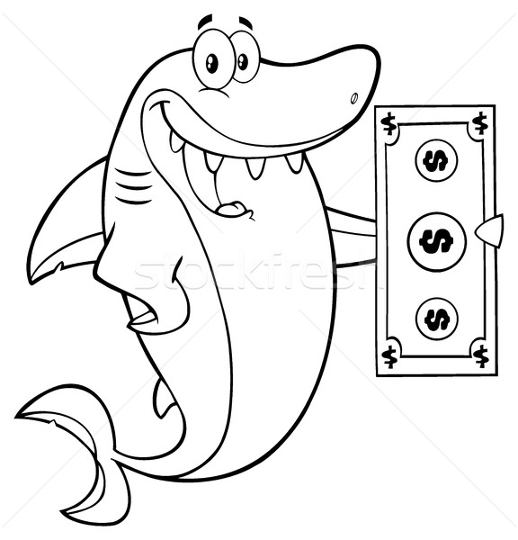 Black And White Happy Shark Cartoon Mascot Character Holding A Dollar Bill Stock photo © hittoon