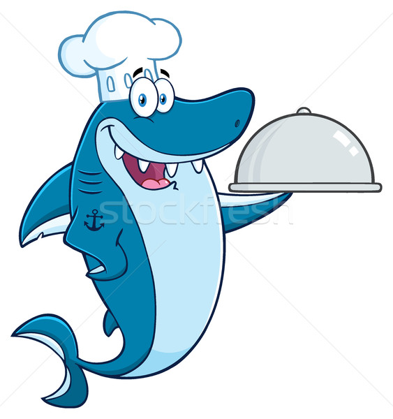 Chef Blauw haai cartoon mascotte Stockfoto © hittoon