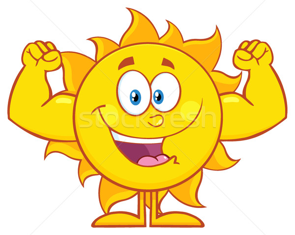 Happy Sun Cartoon Mascot Character Showing Muscle Arms Stock photo © hittoon