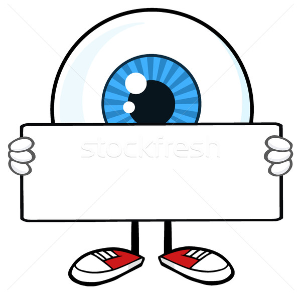 Blue Eyeball Guy Cartoon Mascot Character Holding A Blank Sign Stock photo © hittoon