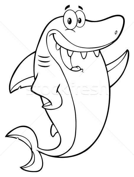 Black And White Happy Shark Cartoon Mascot Character Waving For Greeting Stock photo © hittoon