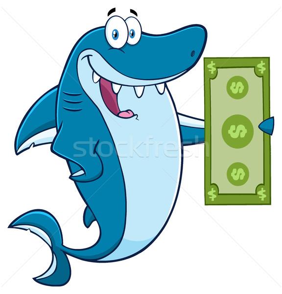 Boldog cápa rajzfilm kabala karakter tart dollár Stock fotó © hittoon
