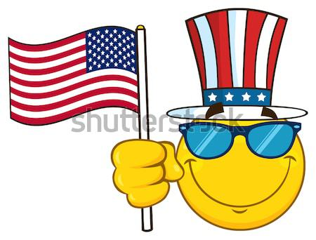 Cute Sun Cartoon Mascot Character With Sunglasses And Patriotic Hat Holding An American Flag Stock photo © hittoon