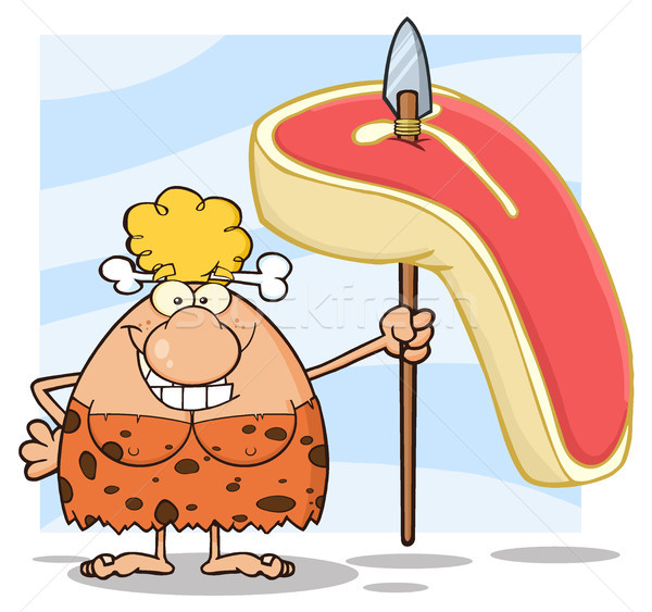 Happy Blonde Cave Woman Cartoon Mascot Character Holding A Spear With Big Raw Steak Stock photo © hittoon