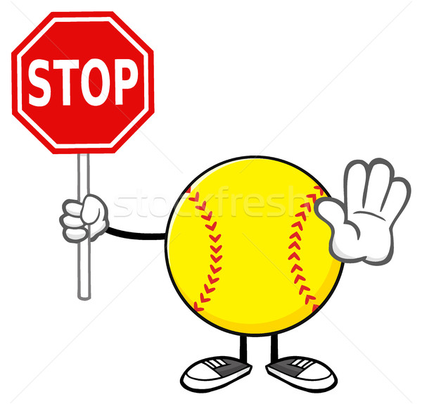 Softball Faceless Cartoon Mascot Character Gesturing And Holding A Stop Sign Stock photo © hittoon