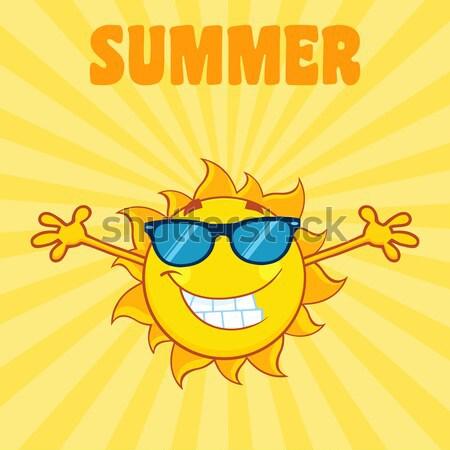 日照 笑みを浮かべて 太陽 マスコット サングラス ストックフォト © hittoon