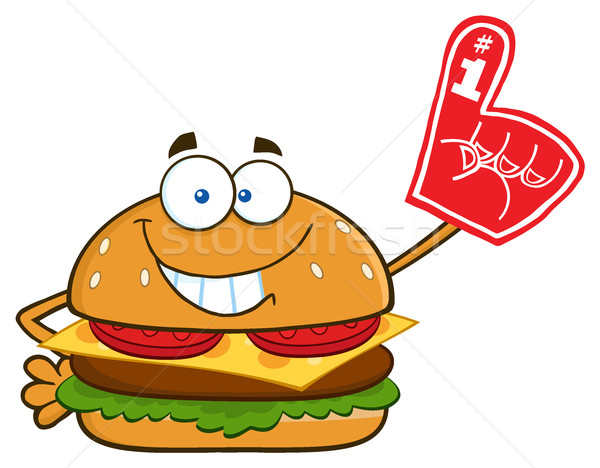 Smiling Burger Cartoon Mascot Character Showing A Number 1 Foam Finger Stock photo © hittoon