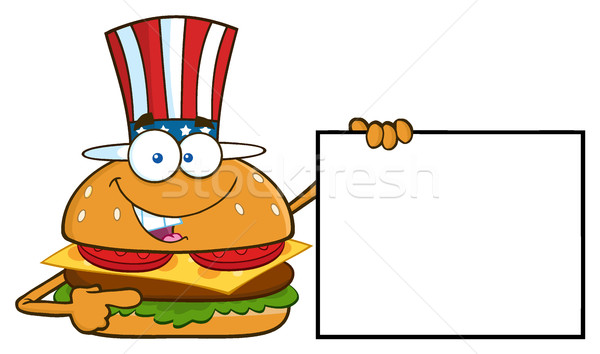 American Burger Cartoon Mascot Character Pointing To A Blank Sign Banner Stock photo © hittoon