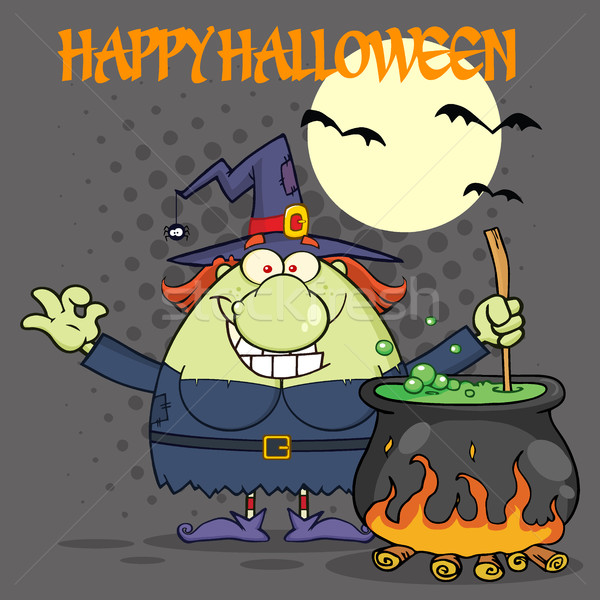 Ugly Halloween Witch Cartoon Mascot Character Preparing A Potion In A Cauldron Stock photo © hittoon