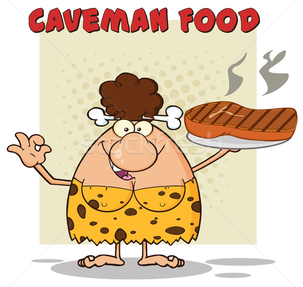 Cave Brunette Woman Cartoon Mascot Character Holding A Big Steak And Gesturing Ok.  Illustration Wit Stock photo © hittoon