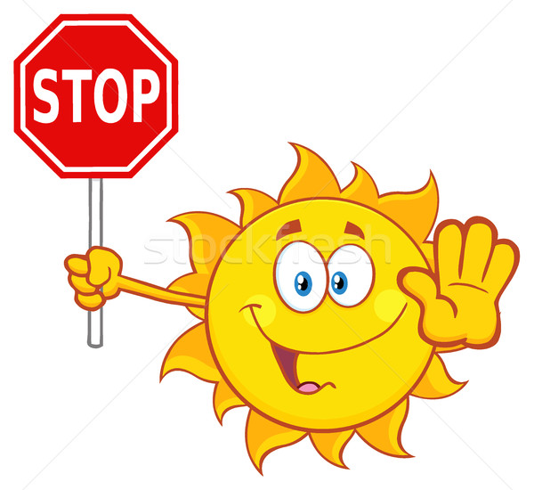 Cute Sun Cartoon Mascot Character Gesturing And Holding A Stop Sign Stock photo © hittoon