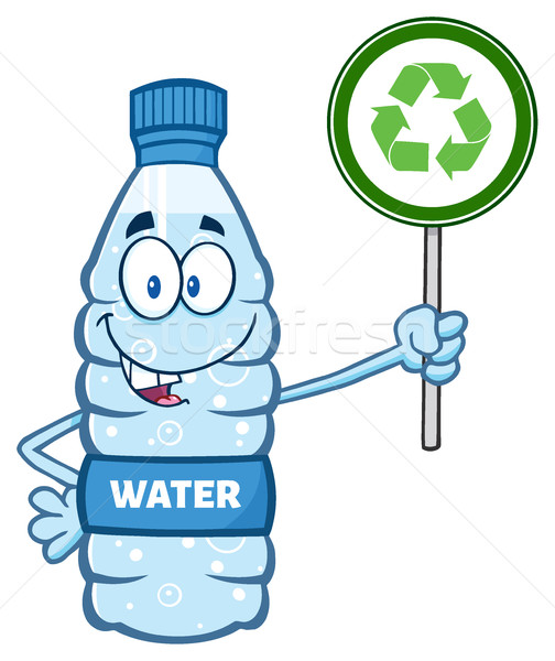 Cartoon Illustation Of A Water Plastic Bottle Mascot