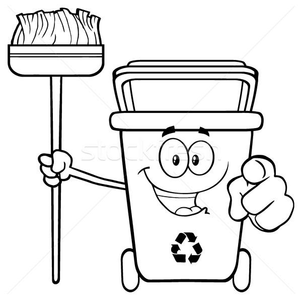Zwart wit Open groene recycleren cartoon mascotte Stockfoto © hittoon
