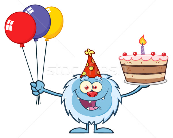 Happy Little Yeti Cartoon Mascot Character Wearing A Party Hat And Holding Balloons And A Birthday C Stock photo © hittoon