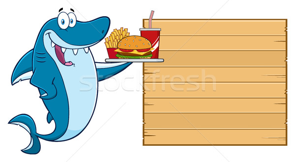 Cute Blue Shark Cartoon Mascot Character Holding A Platter With Burger, French Fries And A Soda To W Stock photo © hittoon