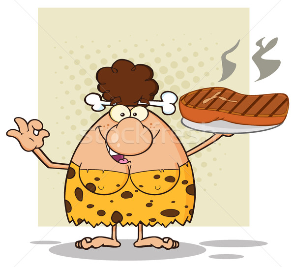Cave Brunette Woman Cartoon Mascot Character Holding Up A Platter With Big Grilled Steak And Gesturi Stock photo © hittoon
