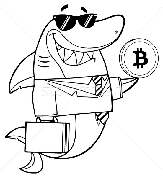 Black And White Smiling Business Shark Cartoon Mascot Character In Suit, Carrying A Briefcase And Ho Stock photo © hittoon