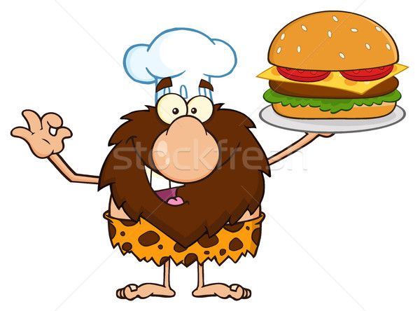 Chef Male Caveman Cartoon Character Holding A Big Burger And Gesturing Ok Stock photo © hittoon