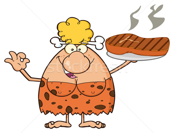 Blonde Cave Woman Cartoon Mascot Character Holding Up A Platter With Big Grilled Steak Stock photo © hittoon