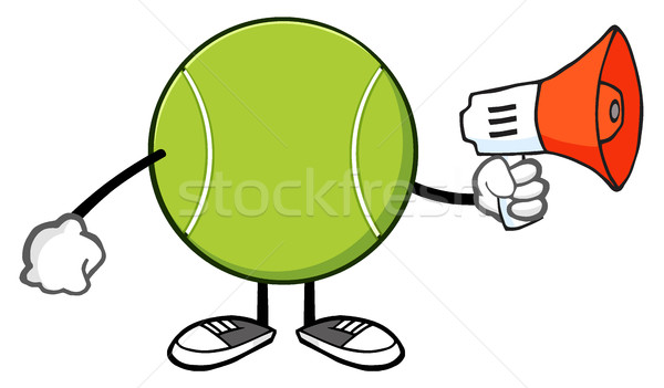 Tennisbal cartoon mascotte karakter aankondiging megafoon illustratie Stockfoto © hittoon