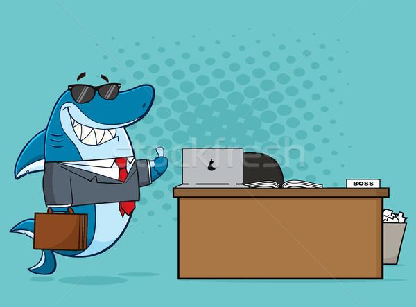 Gülen iş köpekbalığı karikatür maskot karakter Stok fotoğraf © hittoon