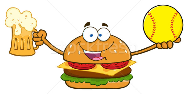 Happy Burger Cartoon Mascot Character Holding A Beer And SoftBall Stock photo © hittoon
